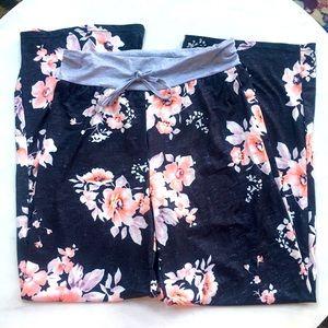 Floral Lounge Pajama Pants/ Drawstring Waist XL
